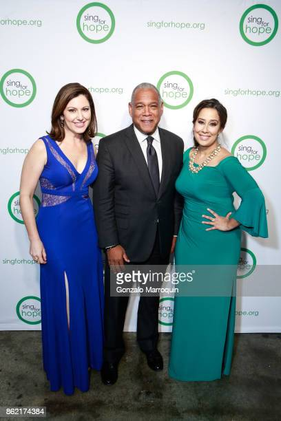 Camille Zamora Mitchell Silver and Monica Yunus during the Sing for Hope Gala 2017 at Tribeca Rooftop on October 16 2017 in New York City