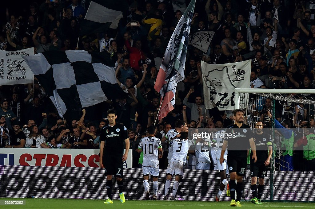 Camillo Ciano of Spezia is celebrates after scoring the equalising goal (1-1) from a penalty during the Serie B playoff match between AC Cesena and AC Spezia on May 24, 2016 in Cesena, Italy.