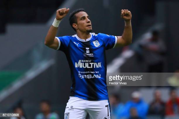 Camilo Da Silva of Queretaro celebrates after scoring the winning goal of his team during the 1st round match between America and Queretaro as part...