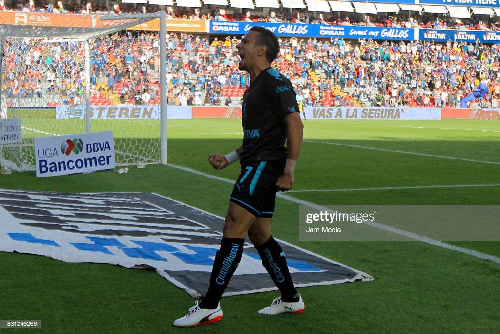Camilo Da Silva Sanvezzo (L) of Queretaro celebrates the second goal of his team during the 4th round match between Queretaro and Morelia as part of the Torneo Apertura 2017 Liga MX at Corregidora Stadium on August 12, 2017 in Mexico City, Mexico.