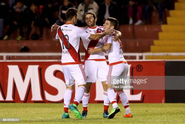 Camilo Mayada of River Plate celebrates after scoring the second goal of his team during a group stage match between FBC Melgar and River Plate as...