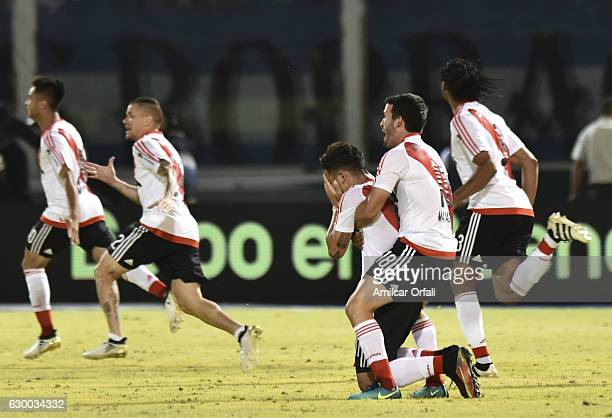 Camilo Mayada of River Plate celebrates with teammate Sebastian Driussi after a victory in a final match between River Plate and Rosario Central as...