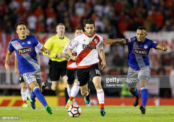 Camilo Mayada of River Plate drives the ball during a group stage match between River Plate and Emelec as part of Copa CONMEBOL Libertadores...