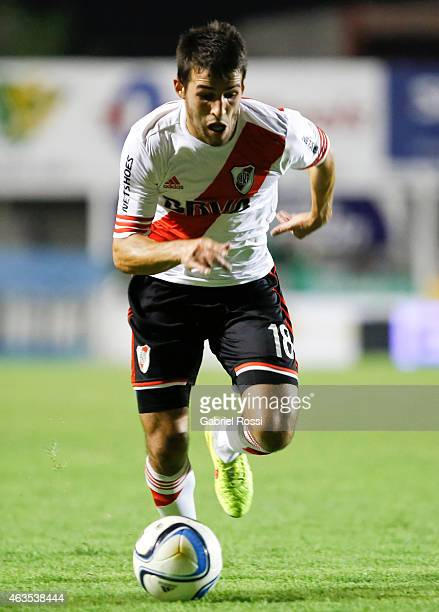 Camilo Mayada of River Plate drives the ball during a match between Sarmiento and River Plate as part of first round of Torneo Primera Division 2015...