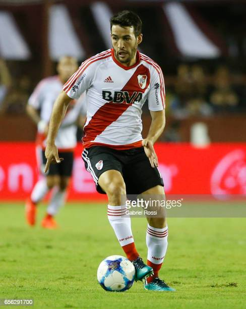 Camilo Mayada of River Plate drives the ball during a match between Lanus and River Plate as part of Torneo Primera Division 2016/17 at Ciudad de...