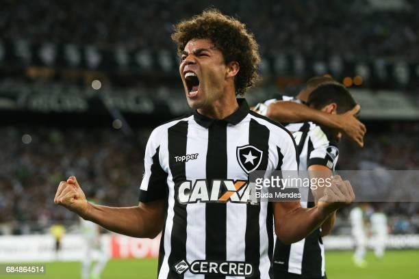 Camilo of Botafogo celebrates a goal by Rodrigo Pimpao against Atletico Nacional during a match between Botafogo and Atletico Nacional as part of...