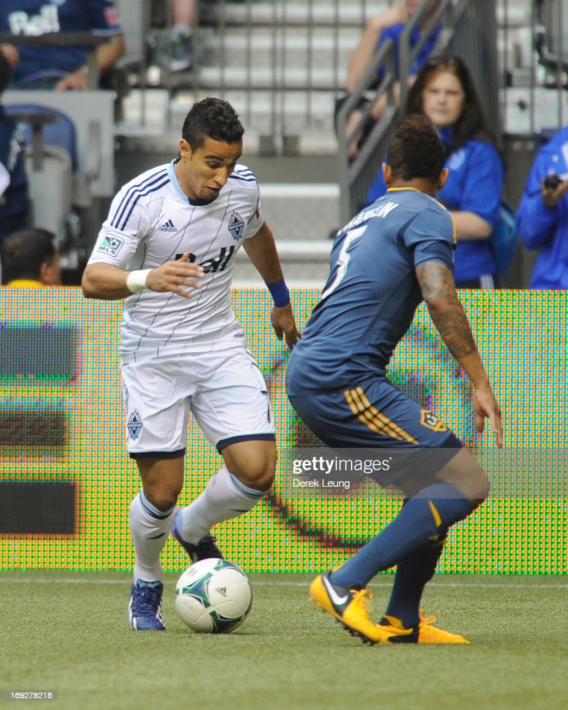 Camilo Sanvezzo #7 of the Vancouver Whitecaps in action against the Los Angeles Galaxy during an MLS Game at B.C. Place on May 11, 2013 in Vancouver, British Columbia, Canada.