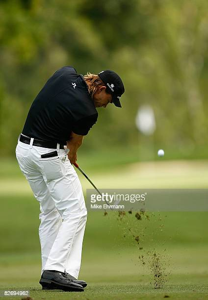 Camilo Villegas hits his approach on the 12th hole during the third round of the BMW Championship on September 6 2008 at Bellerive Country Club in St...