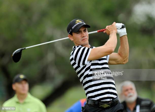 Camilo Villegas of Clombia hits from fifth tee box during the second round of the World Golf ChampionshipsCA Championship at Doral Golf Resort and...