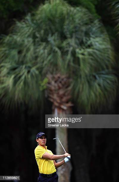 Camilo Villegas of Colombia hits a shot from the fairway during the second round of The Heritage at Harbour Town Golf Links on April 22 2011 in...
