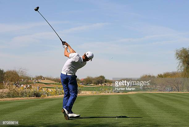 Camilo Villegas of Colombia hits his tee shot on the 3rd hole during the first round of the Waste Management Phoenix Open at TPC Scottsdale on...