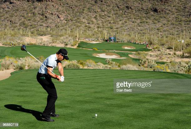 Camilo Villegas of Colombia hits to the 15th green during the third round of the World Golf ChampionshipsAccenture Match Play Championship at The...