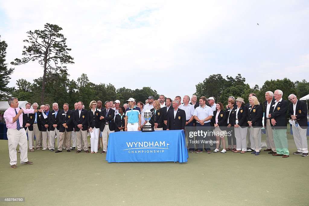 <a gi-track='captionPersonalityLinkClicked' href=/galleries/search?phrase=Camilo+Villegas&family=editorial&specificpeople=561721 ng-click='$event.stopPropagation()'>Camilo Villegas</a> of Colombia is presented with the Sam Snead Cup after winning the Wyndham Championship at Sedgefield Country Club on August 17, 2014 in Greensboro, North Carolina.
