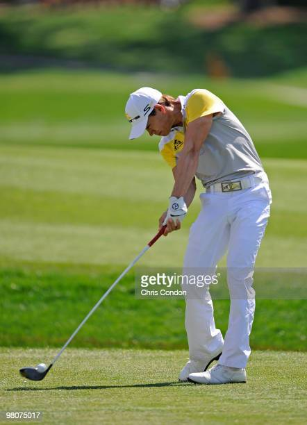 Camilo Villegas of Colombia plays a shot during the second round of the Arnold Palmer Invitational presented by MasterCard held at Bay Hill Club and...