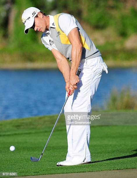 Camilo Villegas of Colombia plays a shot on the 14th hole during the final round of the Honda Classic at PGA National Resort And Spa on March 7 2010...