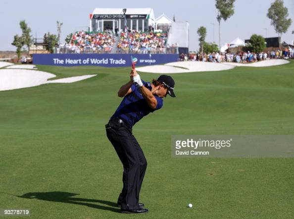 Camilo Villegas of Colombia plays his second shot at the 9th hole during the third round of the Dubai World Championship on the Earth Course Jumeirah...