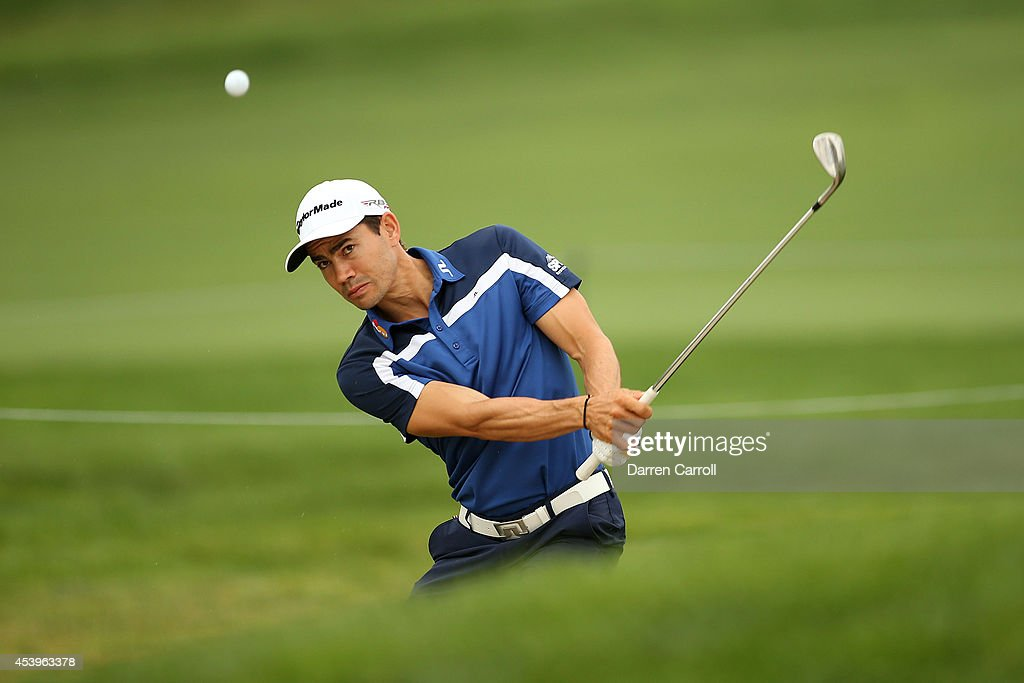 Camilo Villegas of Colombia plays his second shot on the 10th hole during the second round of The Barclays at The Ridgewood Country Club on August 22, 2014 in Paramus, New Jersey.