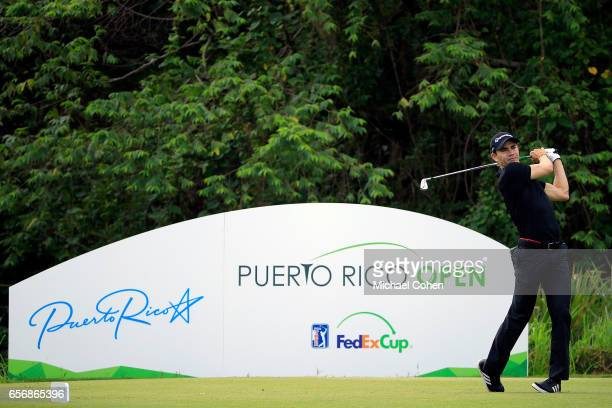 Camilo Villegas of Colombia plays his tee shot on the eighth hole during the first round of the Puerto Rico Open at Coco Beach on March 23 2017 in...