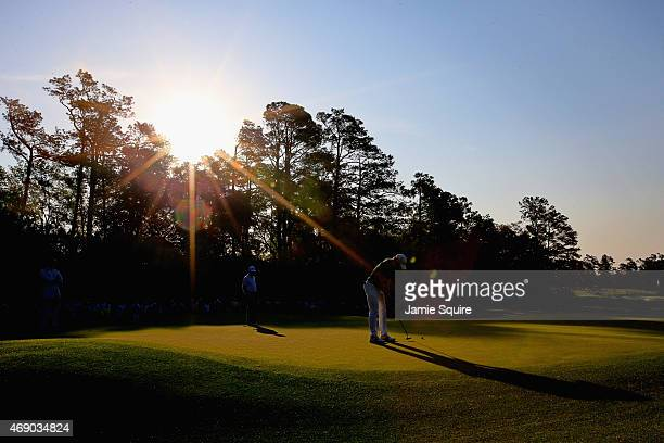 Camilo Villegas of Colombia putts on the first green during the first round of the 2015 Masters Tournament at Augusta National Golf Club on April 9...
