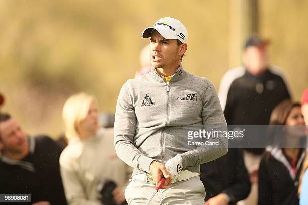 Camilo Villegas of Colombia reacts on the 15th hole during round four of the Accenture Match Play Championship at the RitzCarlton Golf Club on...