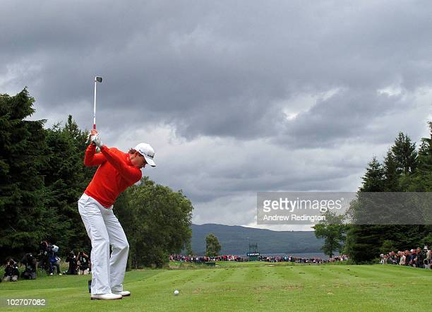 Camilo Villegas of Colombia tees off on the 5th hole during round one of The Barclays Scottish Open at Loch Lomond Golf Club on July 8 2010 in Luss...