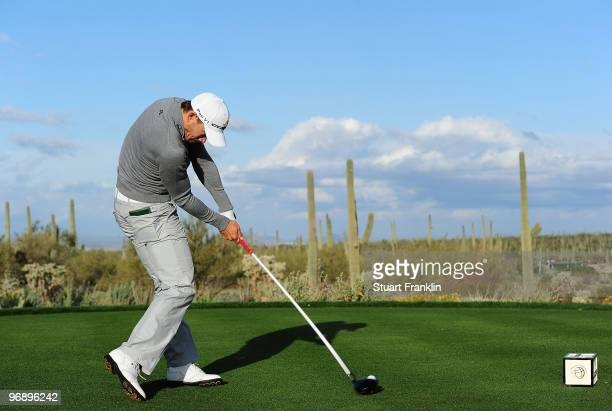 Camilo Villegas of Colombia tees off on the fifth tee box during round four of the Accenture Match Play Championship at the RitzCarlton Golf Club on...