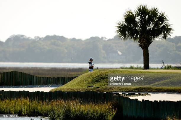 Camilo Villegas of Colombia waits to putt on the 17th green during the second round of the Verizon Heritage at Harbour Town Golf Links on April 17...
