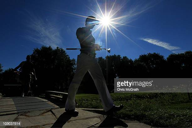 Camilo Villegas of Colombia walks to the 14th green during round one of the 2010 RBC Canadian Open at St George's Golf and Country Club on July 22...