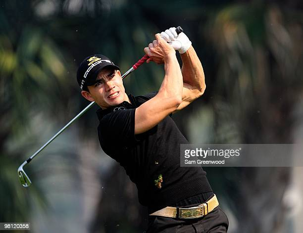 Camilo Villegas of Columbia plays a shot on the seventh hole during the third round of the Honda Classic at PGA National Resort And Spa on March 6...
