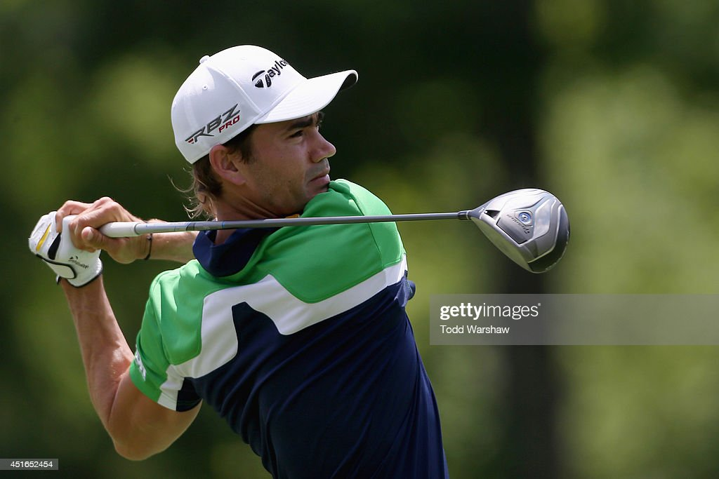 <a gi-track='captionPersonalityLinkClicked' href=/galleries/search?phrase=Camilo+Villegas&family=editorial&specificpeople=561721 ng-click='$event.stopPropagation()'>Camilo Villegas</a> tees off on the eleventh hole during the first round of the Greenbrier Classic at the Old White TPC on July 3, 2014 in White Sulphur Springs, West Virginia.