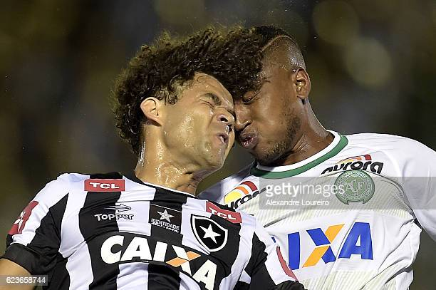 Camilo of Botafogo and Dener of Chapecoense in action during the match between Botafogo and Chapecoense as part of Brasileirao Series A 2016 at Luso...