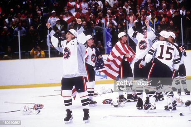 Cammi Granato of Team USA celebrates on the ice after the women's gold medal match against Team Canada at the 1998 Nagano Winter Olympics on February...