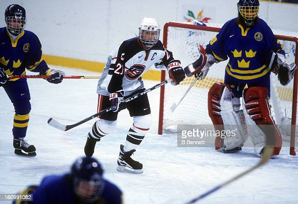 Cammi Granato of Team USA skates on the ice during the women's first round match against Team Sweden at the 1998 Nagano Winter Olympics on February 9...