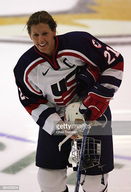 Cammi Granato of Team USA skates on the ice prior to facing Team Canada in a Women's Four Nations Cup game at the Gutterson Arena on November 11 2004...