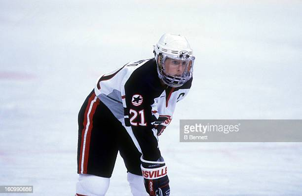 Cammi Granato of Team USA waits for the faceoff during the women's first round match at the 1998 Nagano Winter Olympics in February 1998 at the Aqua...