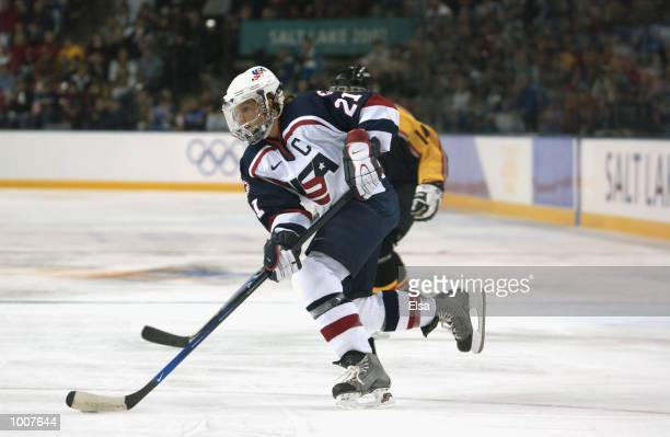 Cammi Granato of the USA heads toward the net against Germany on February 12 2002 at the E Center in Salt Lake City Utah The USA won100