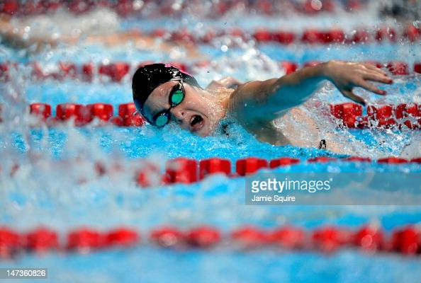 Cammile Adams competes in preliminary heat 14 of the Women's 200 m Butterfly during Day Four of the 2012 US Olympic Swimming Team Trials at...