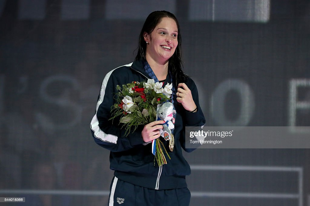 Cammile Adams of the United States participates in the medal ceremony for the Women's 200 Meter Butterfly during Day Five of the 2016 US Olympic Team...