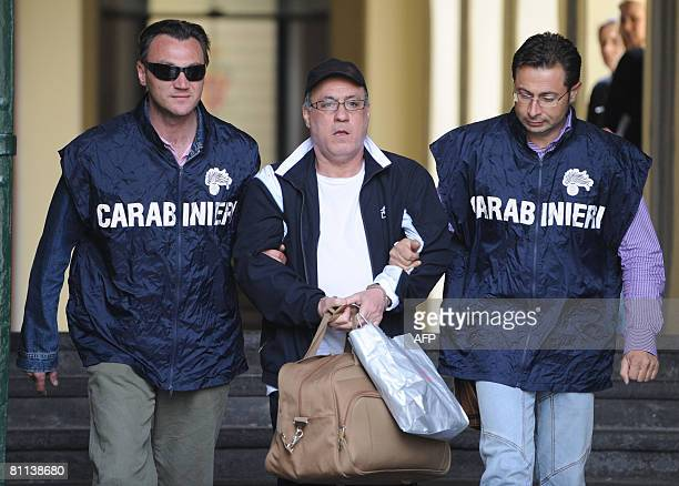 Camorra mafia boss Abbinante Guido is escorted to jail by Italian Carabinieri in Naples on May 18 May 2008 Abbinante one of most wanted Italian Mafia...
