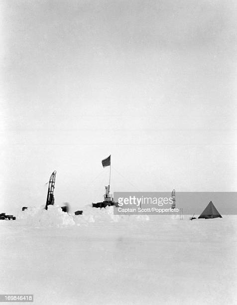 Camp 12 the One Ton Depot on the Great Ice Barrier photographed during the last tragic voyage to Antarctica by Captain Robert Falcon Scott on 16th...