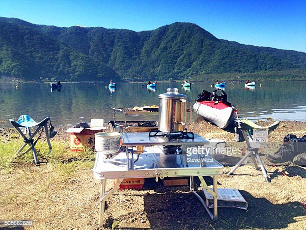 Camp equipment in front of lake near Mt Fuji