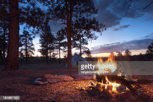 Camp Fire at Dawn