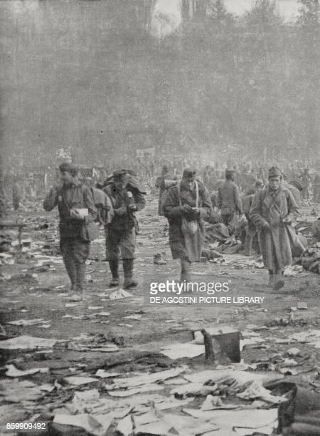 Camp of Austrian prisoners in Trento Italy World War I from l'Illustrazione Italiana Year XLV No 46 November 17 1918