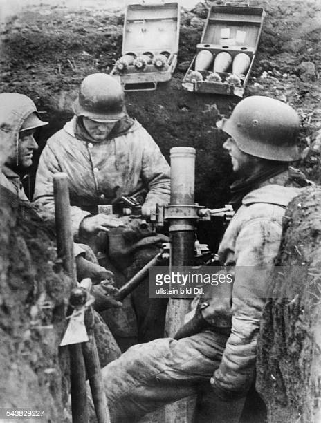 2WW campaign against soviet union /eastern front WaffenSS Mortar position of the SSassaultbrigade 'Langemarck' February 1944