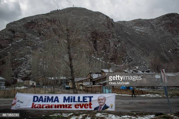 A 'EVET' campaign banner is seen in the town of Zara on April 11 2017 outside Sivas Turkey Campaigning by both the 'Evet' and 'Hayir' camps has...