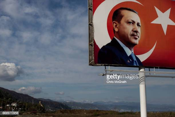 A 'EVET' campaign billboard showing the portrait of Turkish President Recep Tayyip Erdogan is seen on April 10 2017 in Rize Turkey Although born in...