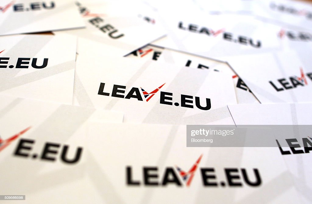 Campaign business cards sit on a desk inside the Leave.EU campaign headquarters, a party campaigning against Britain's membership of the European Union, in London, U.K., on Thursday, Feb. 11, 2016. Britain's economy could be thrown off track by the planned referendum on European Union membership, according to the Confederation for British Industry. Photographer: Chris Ratcliffe/Bloomberg via Getty Images