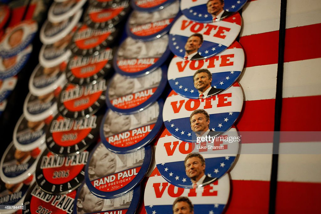 Campaign buttons are displayed for sale outside an event at which Sen Rand Paul will announce his candidacy for the Republican presidential...