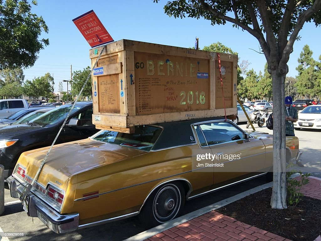 Campaign car at Bernie Sanders rally at California Sate University Dominquez Hills in Carson California on May 17 2016