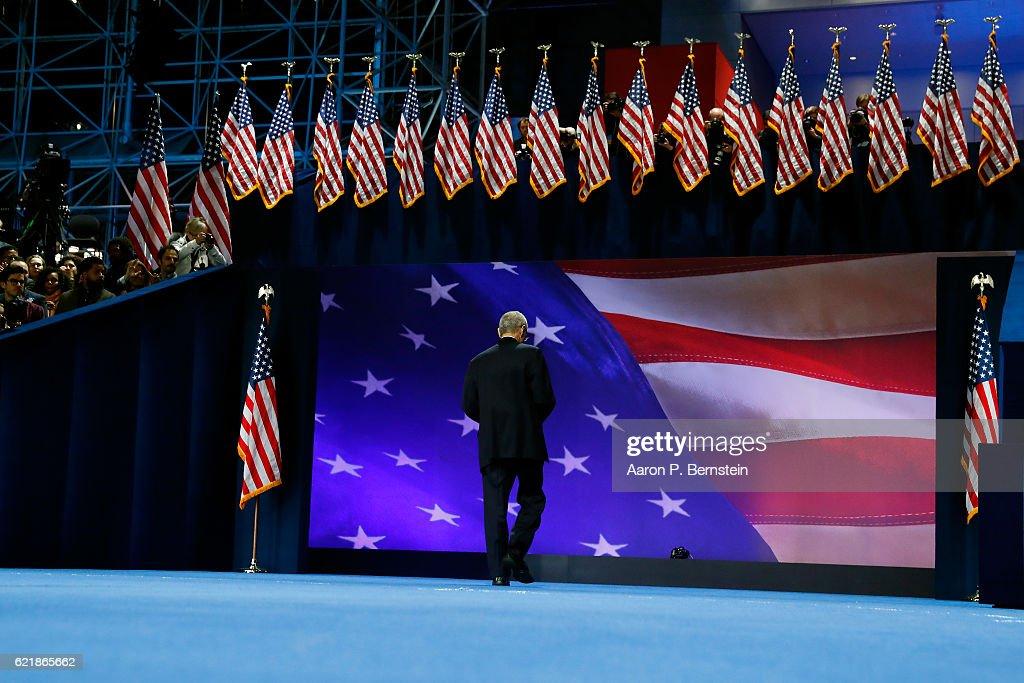 Campaign chairman John Podesta leaves the stage after speaking at Democratic presidential nominee former Secretary of State Hillary Clinton election night event at the Jacob K. Javits Convention Center November 9, 2016 in New York City. Clinton is running against Republican nominee, Donald J. Trump to be the 45th President of the United States.